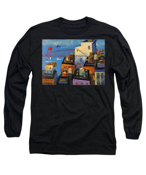 New York,red Bridge Long Sleeve T-Shirt