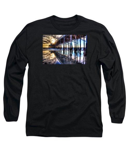 Newport Beach Pier - Reflections Long Sleeve T-Shirt by Jim Carrell