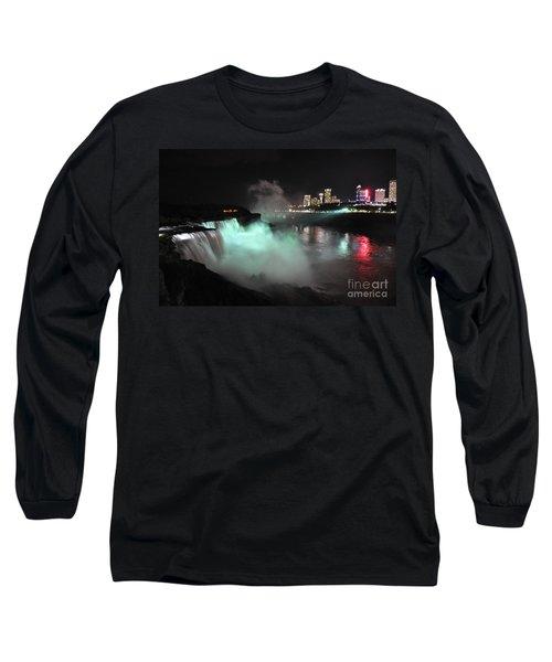 Long Sleeve T-Shirt featuring the photograph Niagara Night Lights by Gina Savage
