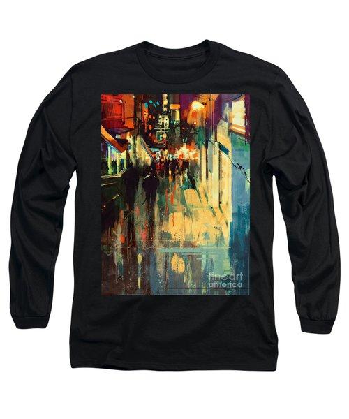 Night Alleyway Long Sleeve T-Shirt