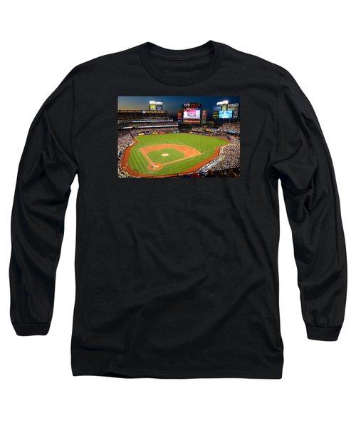 Night Game At Citi Field Long Sleeve T-Shirt by James Kirkikis