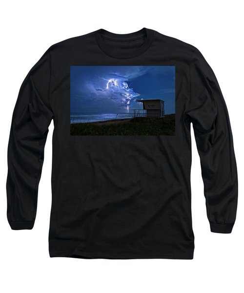 Night Lightning Under Full Moon Over Hobe Sound Beach, Florida Long Sleeve T-Shirt by Justin Kelefas