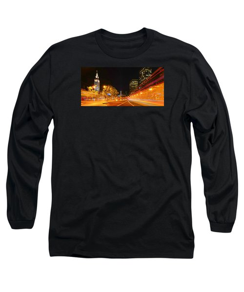 Long Sleeve T-Shirt featuring the photograph Night Trolley On Time by Steve Siri