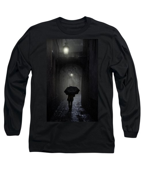 Long Sleeve T-Shirt featuring the photograph Night Walk In The Rain by Jaroslaw Blaminsky