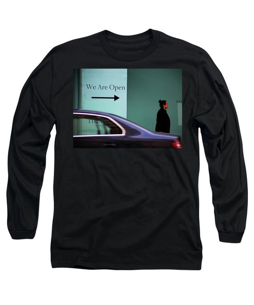 No We Are Closed  Long Sleeve T-Shirt by Empty Wall