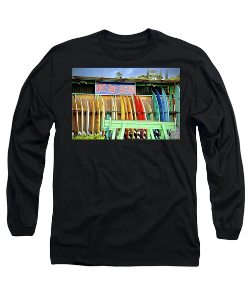 Long Sleeve T-Shirt featuring the photograph North Shore Surf Shop 1 by Jim Albritton