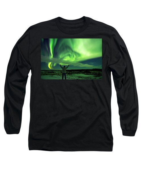 Northern Light In Western Iceland Long Sleeve T-Shirt by Dubi Roman