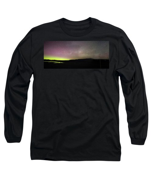 Northern Lights And Milky Way In Yellowstone Np Long Sleeve T-Shirt