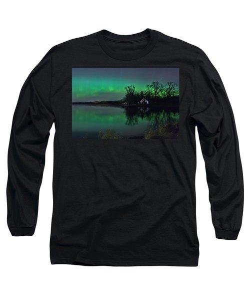 Northern Lights At Gull Lake Long Sleeve T-Shirt