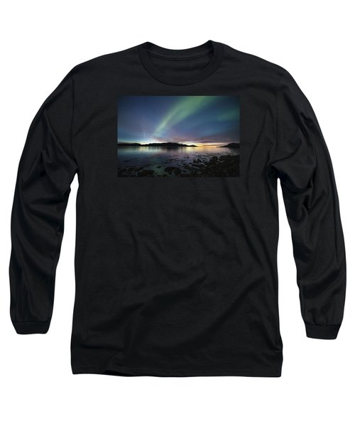 Northern Lights Meet Sunset Long Sleeve T-Shirt