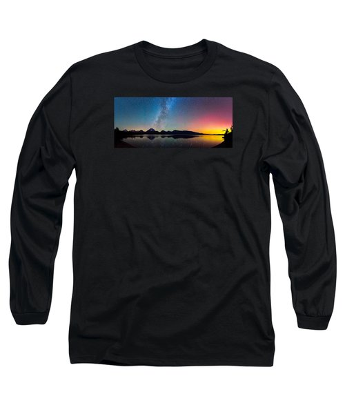 Northern Lights Over Jackson Lake Long Sleeve T-Shirt