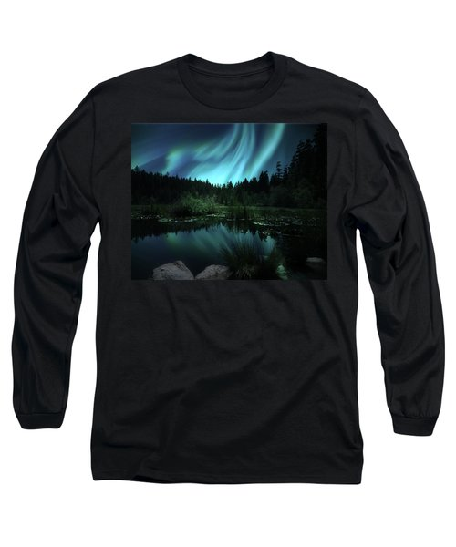 Northern Lights Over Lily Pond Long Sleeve T-Shirt