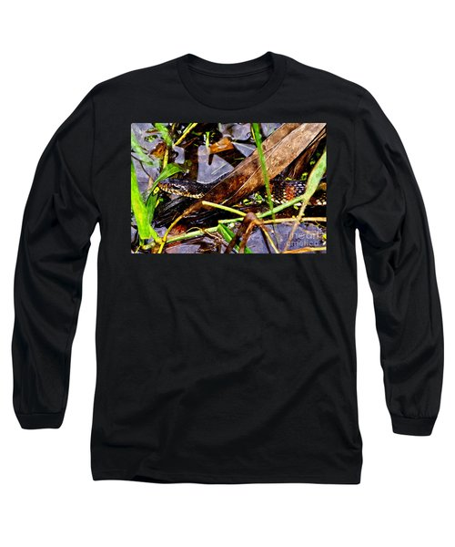 Long Sleeve T-Shirt featuring the mixed media Northern Water Snake by Olga Hamilton