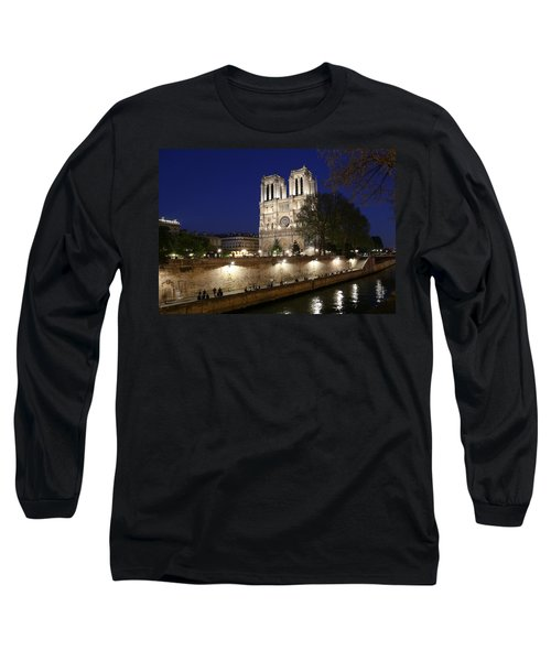 Long Sleeve T-Shirt featuring the photograph Notre Dame Night 1 by Andrew Fare