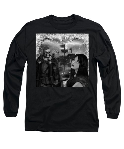Long Sleeve T-Shirt featuring the painting Now Or Never - Black And White Fantasy Art by Raphael Lopez