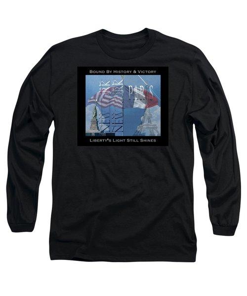 Ny And Paris - Usa And France Long Sleeve T-Shirt by Robert J Sadler