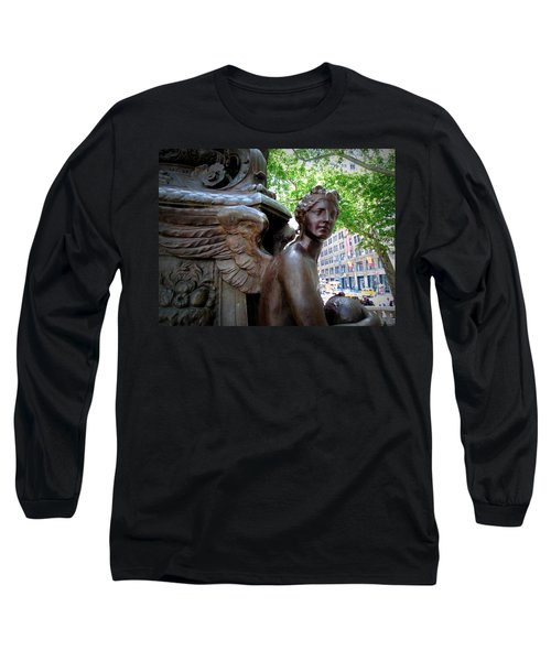 Nyc Library Angel Long Sleeve T-Shirt by Susan Lafleur