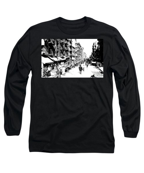 Nyc Lower East Side - 1902 -market Day Long Sleeve T-Shirt by Merton Allen
