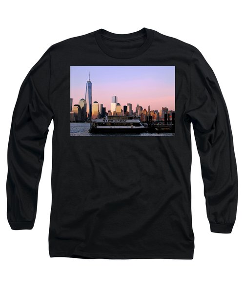 Nyc Skyline With Boat At Pier Long Sleeve T-Shirt