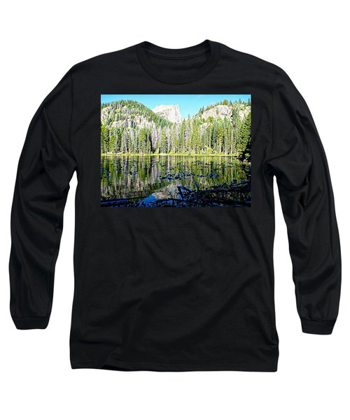 Long Sleeve T-Shirt featuring the photograph Nymph Lake And Flattop Mountain by Joseph Hendrix