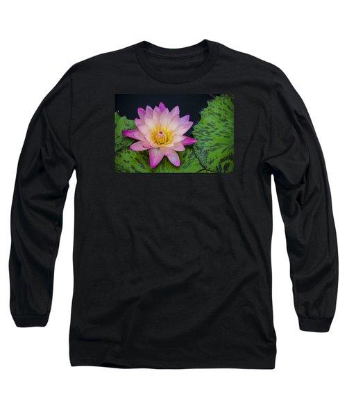 Nymphaea Hot Pink Water Lily Long Sleeve T-Shirt by Deborah Smolinske