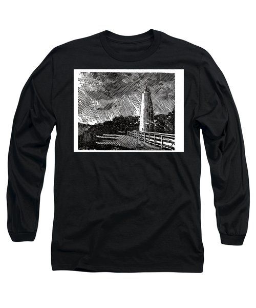 Long Sleeve T-Shirt featuring the painting Ocracoke Island Lighthouse II by Ryan Fox