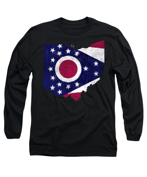 Ohio Map Art With Flag Design Long Sleeve T-Shirt