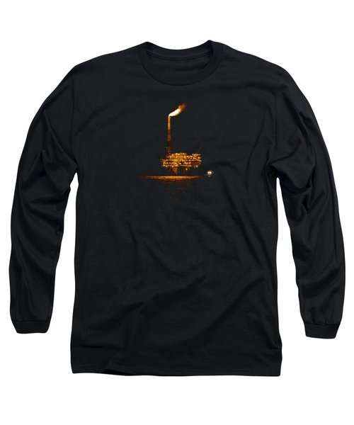 Long Sleeve T-Shirt featuring the photograph Oil Rig At Night by Bradford Martin