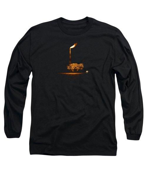 Oil Rig At Night Long Sleeve T-Shirt by Bradford Martin