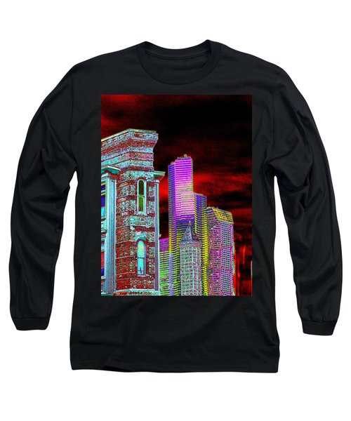 Old And New Seattle Long Sleeve T-Shirt by Tim Allen