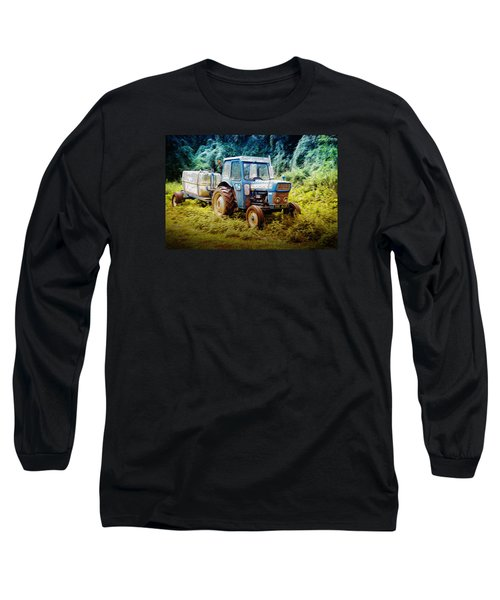Old Blue Ford Tractor Long Sleeve T-Shirt by John Williams
