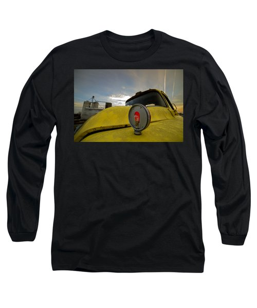 Old Chevy Truck With Grain Elevators In The Background Long Sleeve T-Shirt