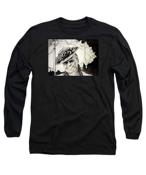 Old Fashioned Girl In Black And White Long Sleeve T-Shirt
