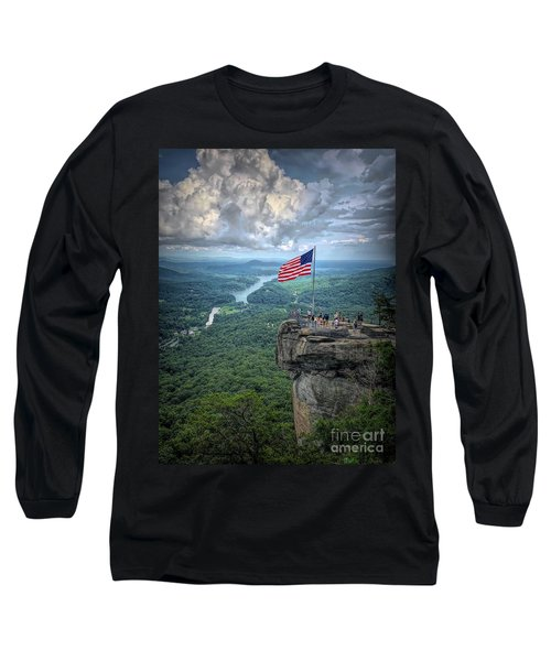 Old Glory On The Rock Long Sleeve T-Shirt