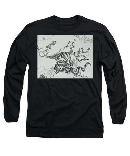 Old Juniper Dancing With The Wind -- Field Sketch Long Sleeve T-Shirt by Dawn Senior-Trask