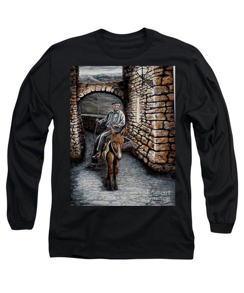 Long Sleeve T-Shirt featuring the painting Old Man On A Donkey by Judy Kirouac