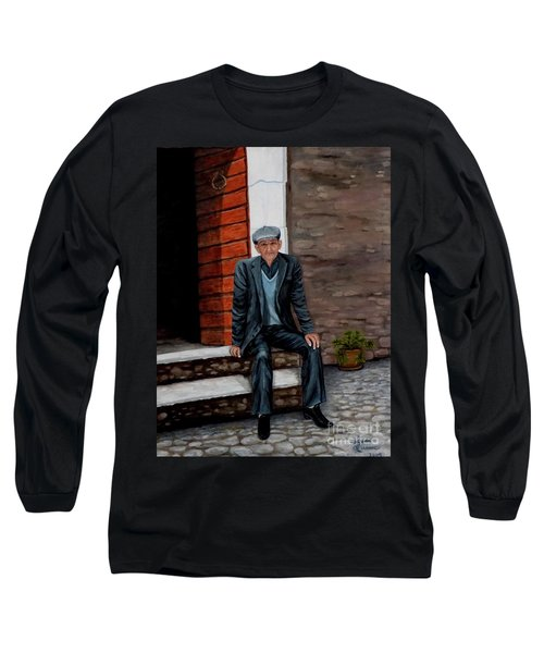 Long Sleeve T-Shirt featuring the painting Old Man Waiting by Judy Kirouac
