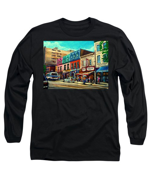 Old Montreal Schwartzs Deli Plateau Montreal City Scenes Long Sleeve T-Shirt by Carole Spandau