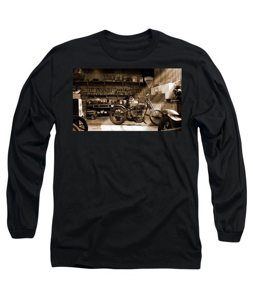 Old Motorcycle Shop Long Sleeve T-Shirt
