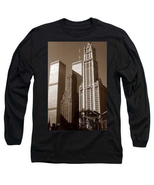 Old New York Photo - Woolworth Building And World Trade Center Long Sleeve T-Shirt