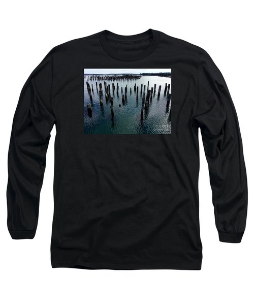 Old Pilings, Casco Bay Portland Trails Long Sleeve T-Shirt