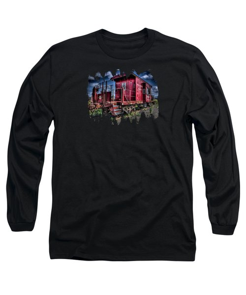 Long Sleeve T-Shirt featuring the photograph Old Red Caboose by Thom Zehrfeld