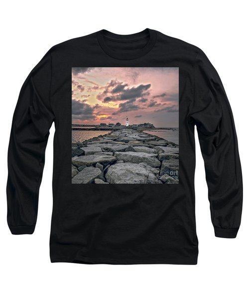 Old Scituate Light At The End Of The Jetty Long Sleeve T-Shirt