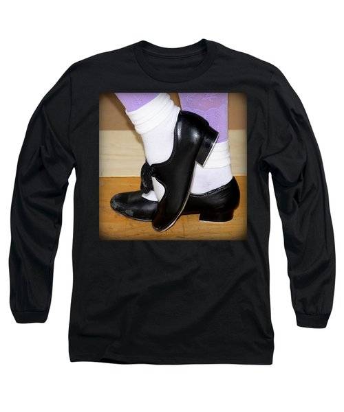 Old Tap Dance Shoes With White Socks And Wooden Floor Long Sleeve T-Shirt by Pedro Cardona