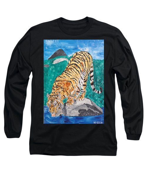 Old Tiger Drinking Long Sleeve T-Shirt by Valerie Ornstein