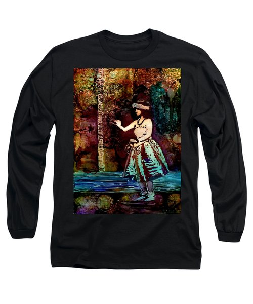 Long Sleeve T-Shirt featuring the painting Old Time Hula Dancer by Marionette Taboniar