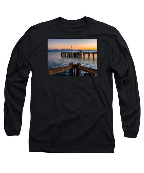 Old Town Pier During Sunrise On Commencement Bay Long Sleeve T-Shirt