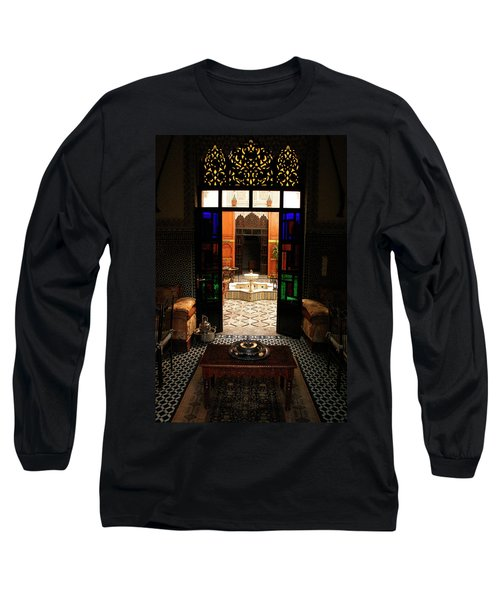 Old Traditional Riad In Fez Long Sleeve T-Shirt by Ralph A  Ledergerber-Photography
