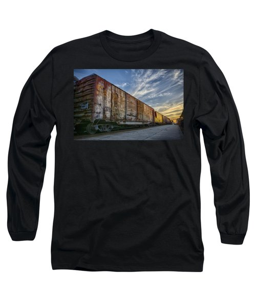 Long Sleeve T-Shirt featuring the tapestry - textile Old Train - Galveston, Tx by Kathy Adams Clark