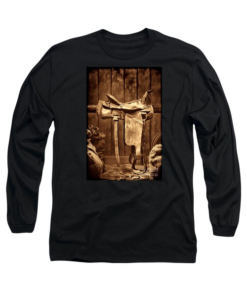 Old Western Saddle Long Sleeve T-Shirt by American West Legend By Olivier Le Queinec
